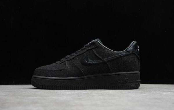 Buy 2020 Cheap Sale Nike Air Force 1 Low Stussy Triple Black Shoes