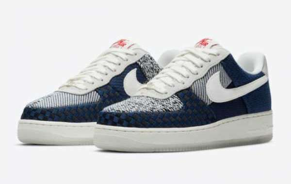 "The official image of the new Nike Air Force 1 ""Sashiko"" DD5401-492 is released!"